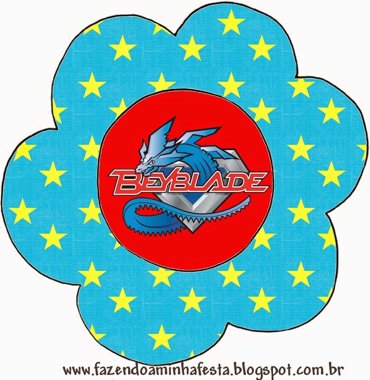 Invitacion con forma de Flor de Beyblade.