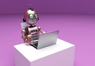Auto Blog Robot At Laptop