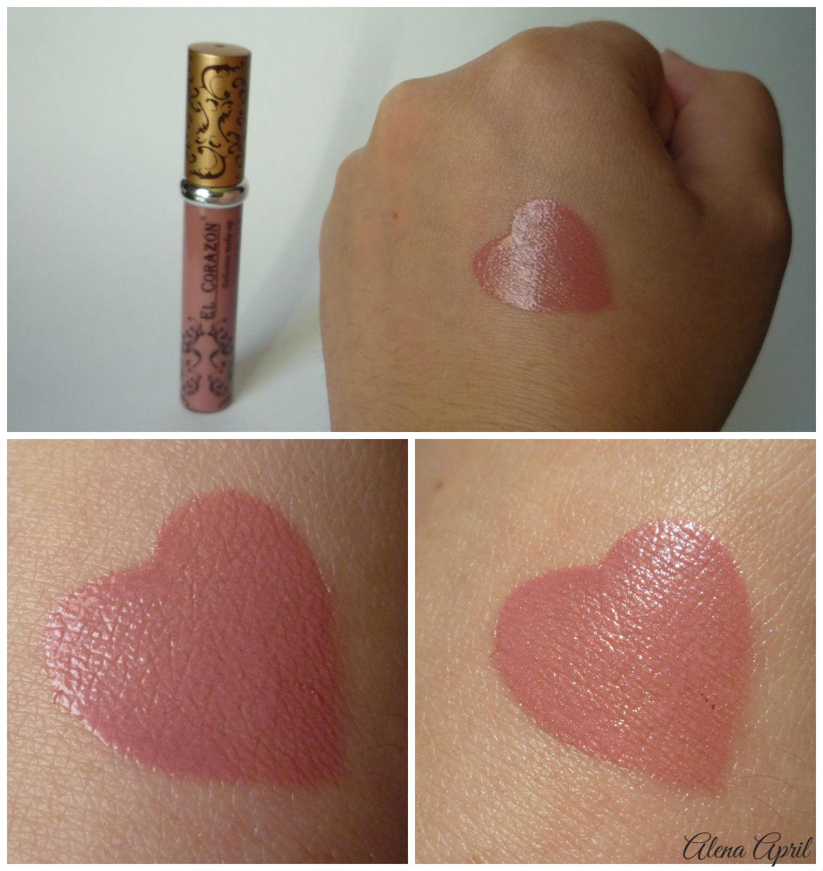 Стойкая жидкая помада Volume Liquid lipstick El Corazon в оттенке #211, свотчи