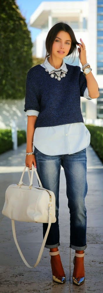 Chambray Shirt with Crop Sweater and Sexy Boyfriend Jeans | Street chic