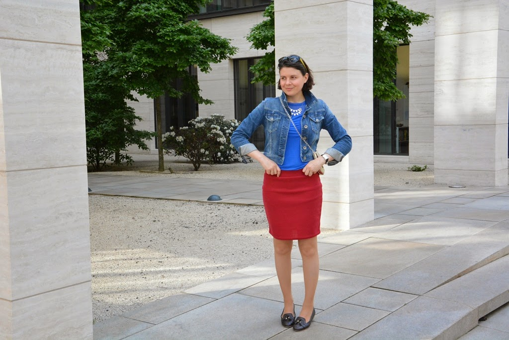 Jeans jacket, pencil skirt
