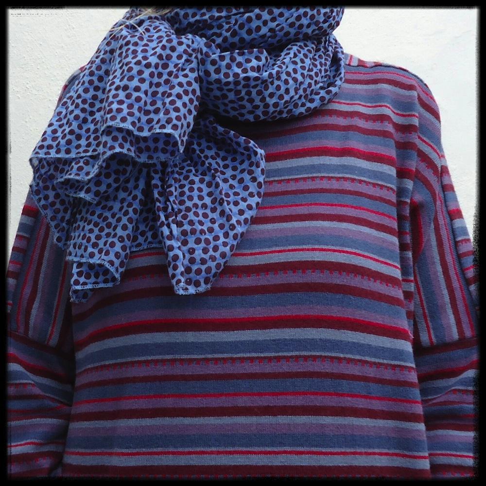 Ulla scarf and multi-striped dress by Gudrun Sjödén