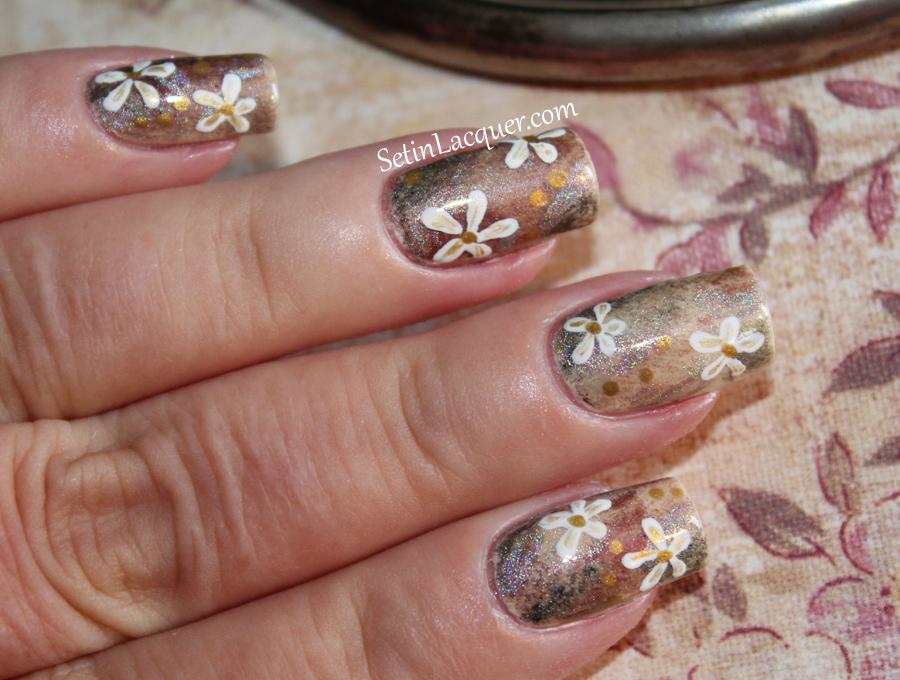 Nail art using eye shadows tutorial - subtle floral look - Set in ...