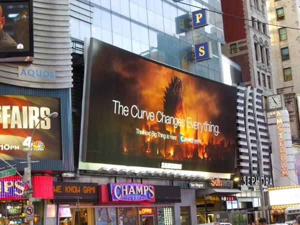 Samsung Curved TV Godzilla billboard Times Square NYC