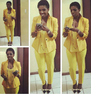 Actress Annie Idibia lovely in yellow suit