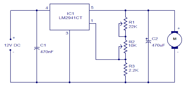 Motor controller circuit using LM2941C