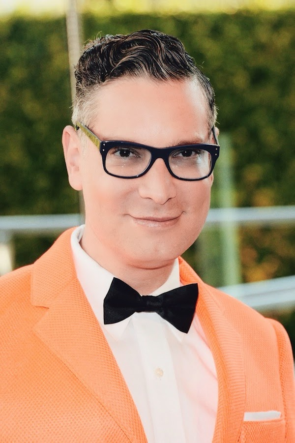 Cameron Silver in Marlon Gobel Orange blazer Kara Ross jewellery Selima Optique glasses - 2014 CFDA Fashion Awards
