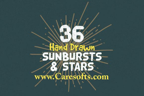 36 Hand Drawn Sunbursts and Stars Free Download