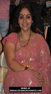 Fathima Babu Aunty in pink saree