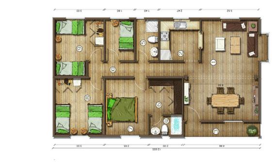 Dise os de casas planos gratis planos de casas gratis 95 m2 for Planos de casas de una planta 4 dormitorios