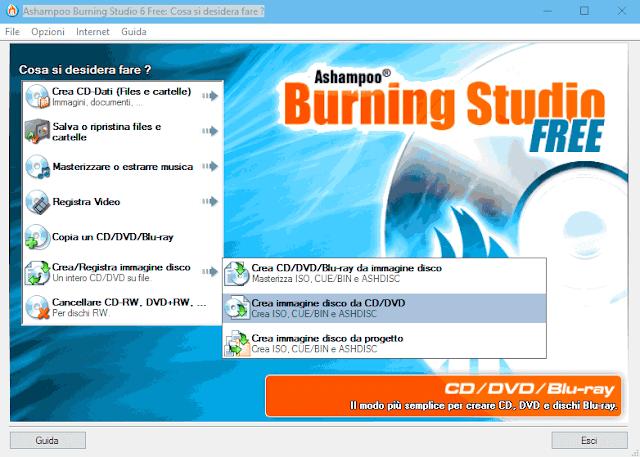 Ashampoo Burning Studio 6 Free Crea immagine ISO