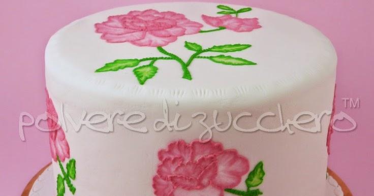 Torta brush embroidery con fiori il corso polvere di for Decorazione torte e cupcake