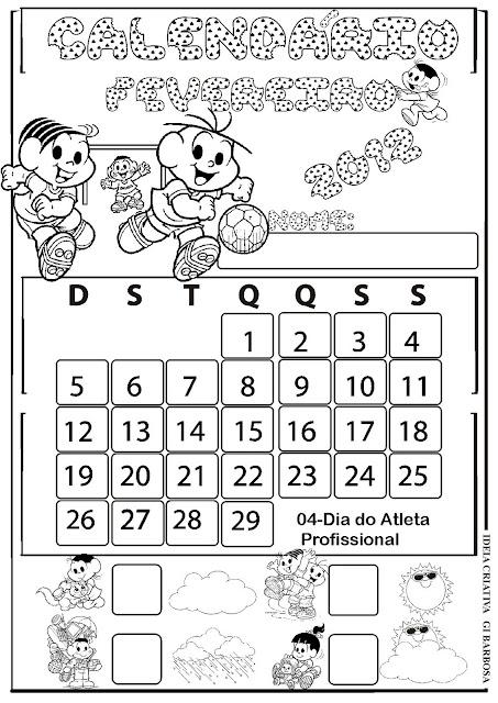 Calendários 2012  Fevereiro Turma da Mônica