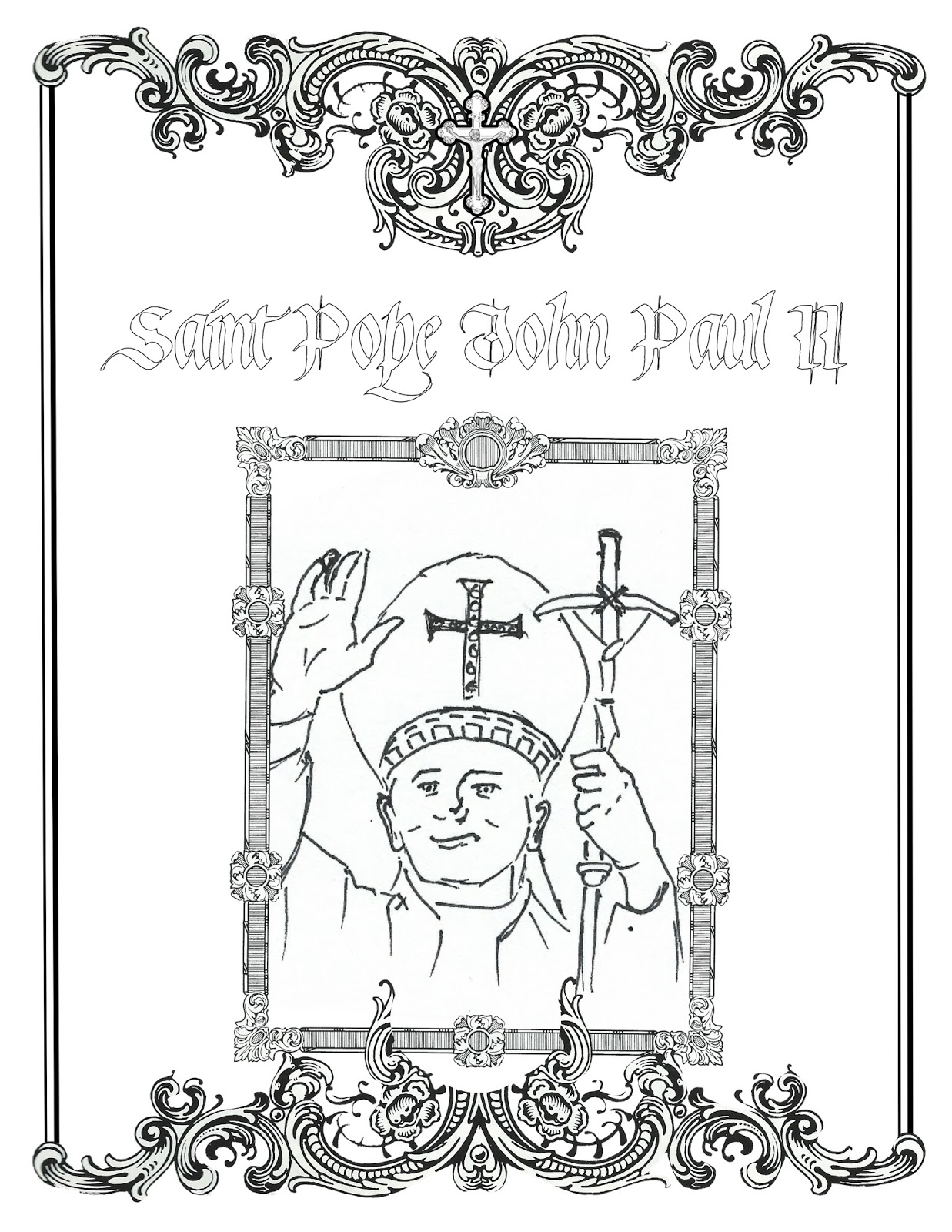 john paul ii coloring page - life love sacred art october 2015