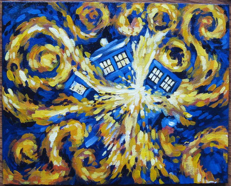 Van Gogh Tardis http://wappellious.blogspot.com/2013/01/how-to-blow-up-tardis.html