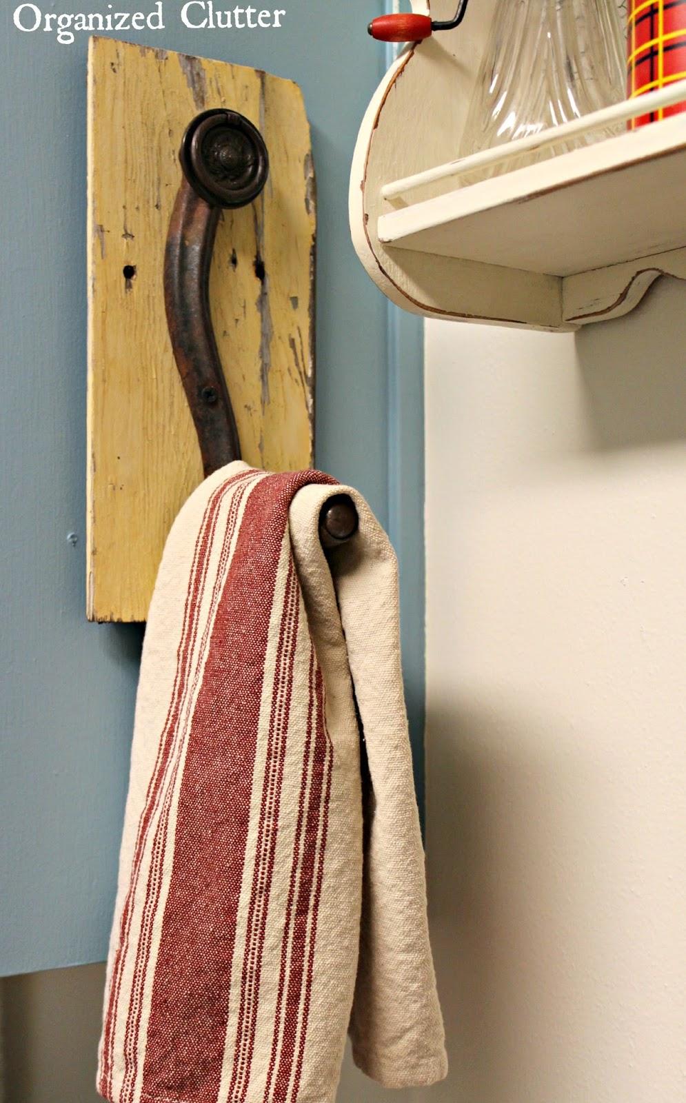 Repurposed Crank Handle Towel Holder