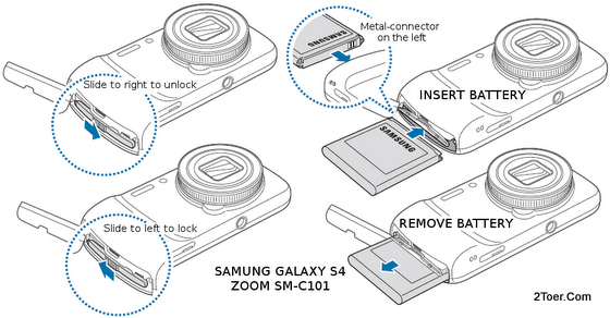 Samsung Galaxy S4 Zoom SM-C101 Lock Unlock Insert Remove Battery
