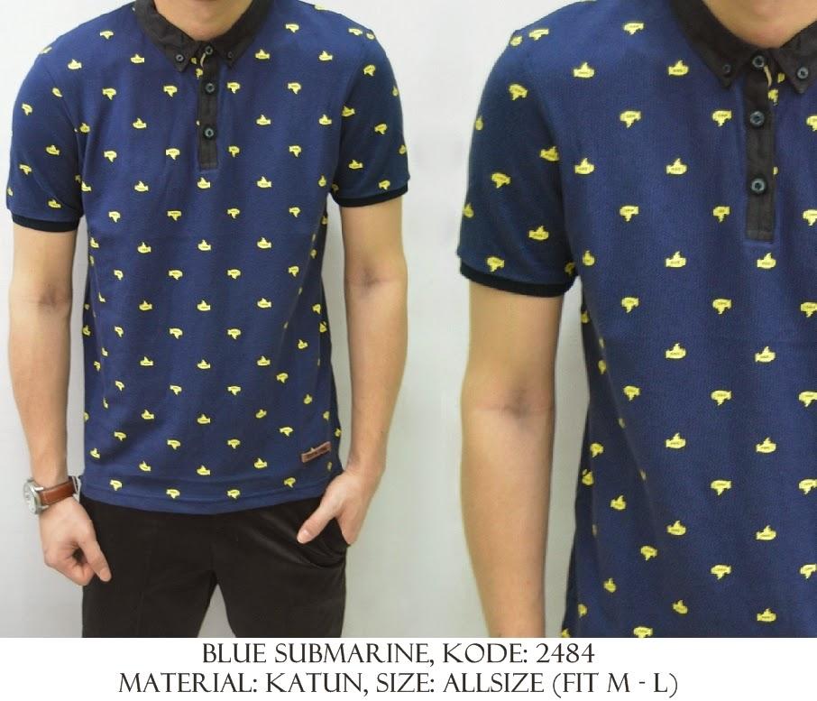 Baju Distro & Baju Kemeja Motif Blue Submarine | Shirostore