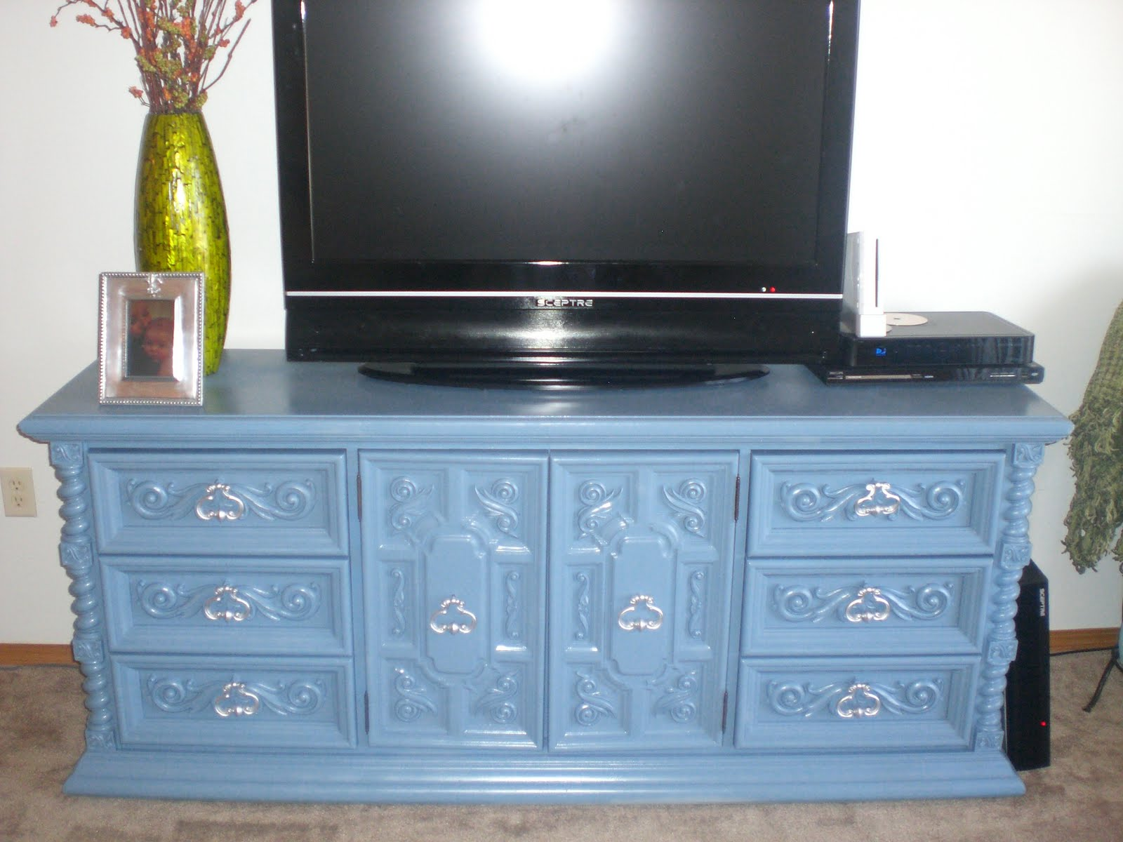 Sold Antique Dresser Painted A Blue Grey