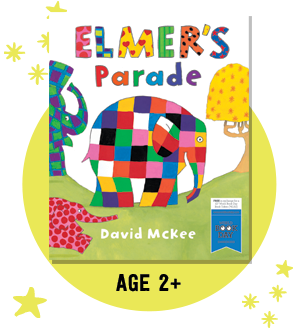 Look at the pictures and write a short story about elmer