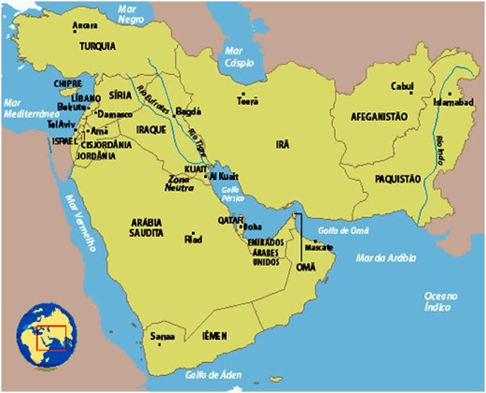 Resultado de imagem para oriente médio mapa