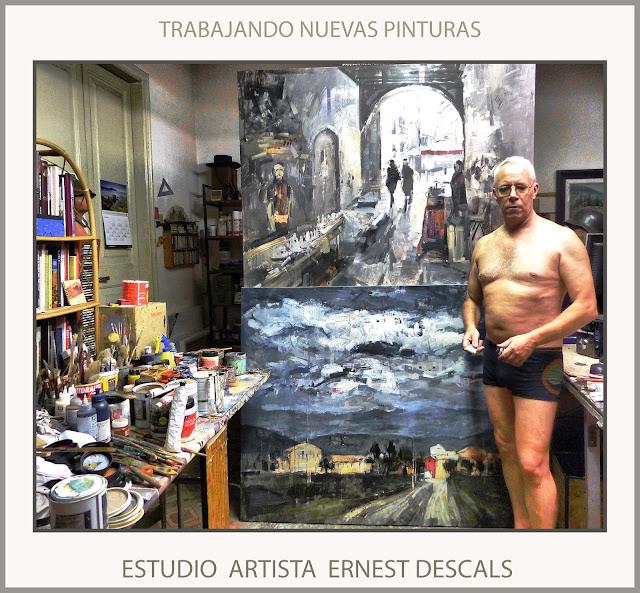 TRABAJANDO-NUEVAS PINTURAS-PINTANDO-ESTUDIO-CUADROS-GRAN FORMATO-ARTISTA-PINTOR-ERNEST DESCALS-