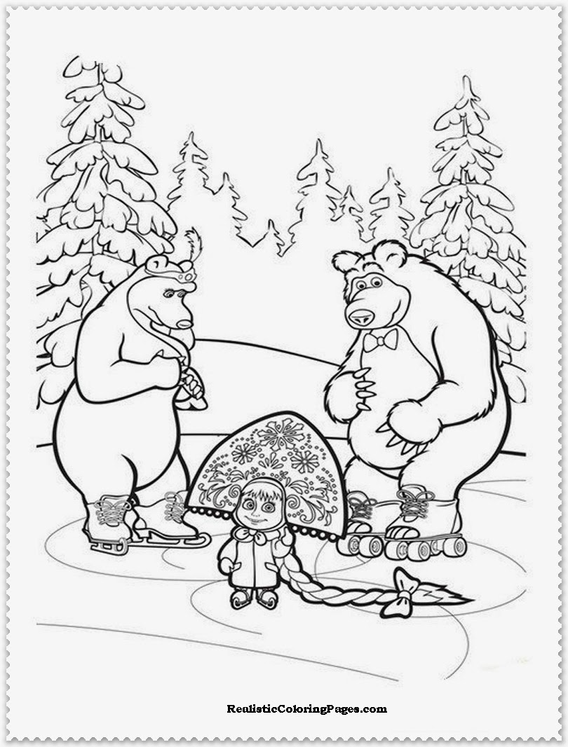 free printable masha and the bear coloring pages