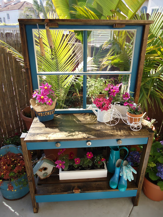 Vintage Window Potting Table - SOLD