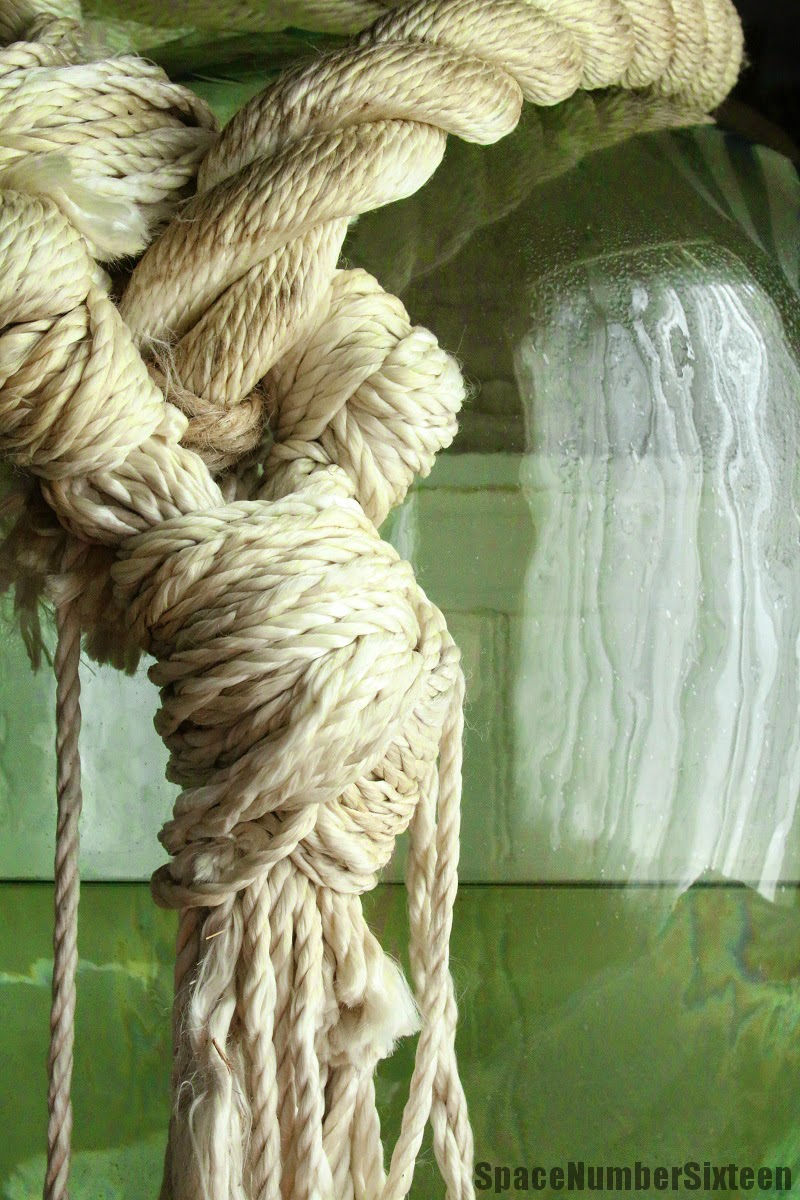 demi john with rope, vintage home decor