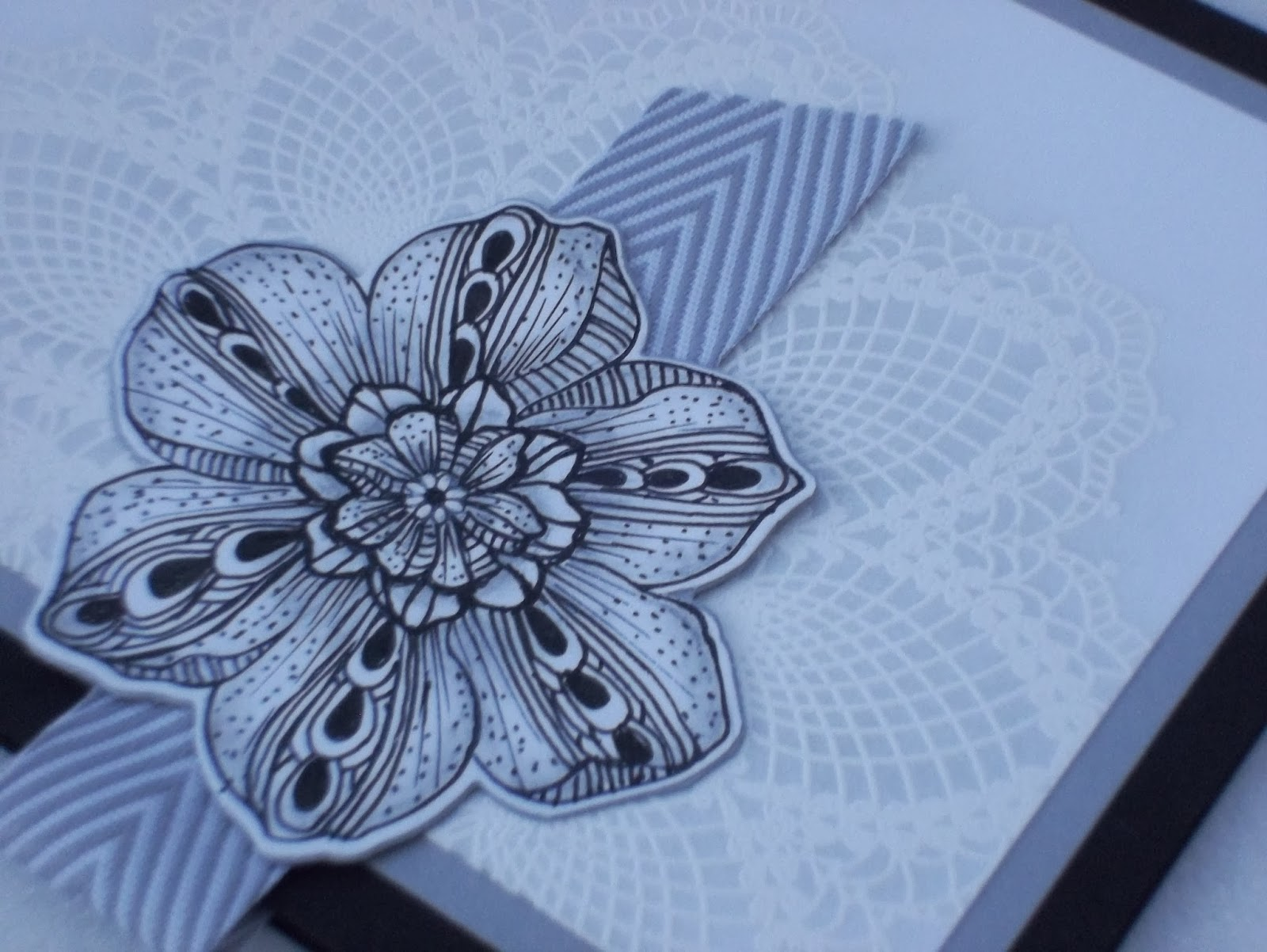 Secret Garden flower Zentangle style on Hello Doily