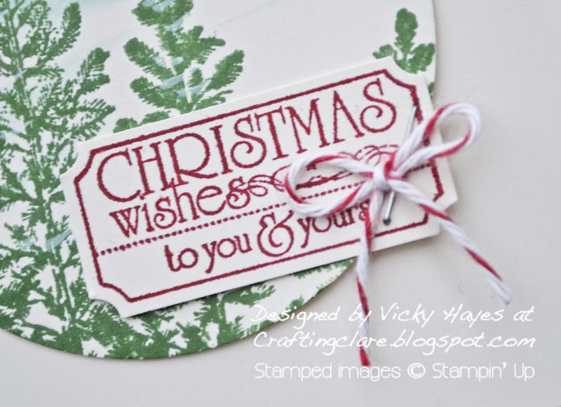 Tag made with Stampin' Up's That's the Ticket tag on Christmas card by Vicky Hayes