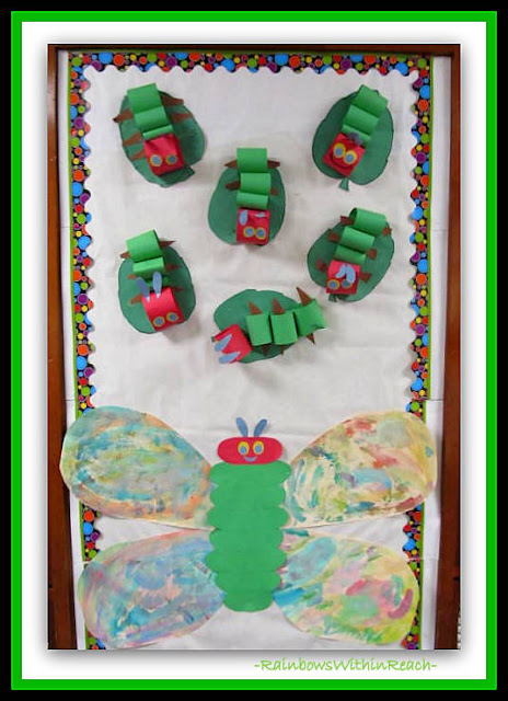 photo of: Eric Carle Caterpillar to Butterfly Bulletin Board from Eric Carle RoundUP at RainbowsWithinReach