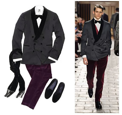 Velvet eveningwear for men from Hackett as seen on the catwalk