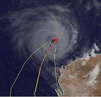 Tropischer Sturm NARELLE bei Australien, 2013, aktuell, Australien, Australische Zyklonsaison, Januar, Narelle, Satellitenbild Satellitenbilder, Sturmwarnung, Verlauf, Vorhersage Forecast Prognose, Zugbahn