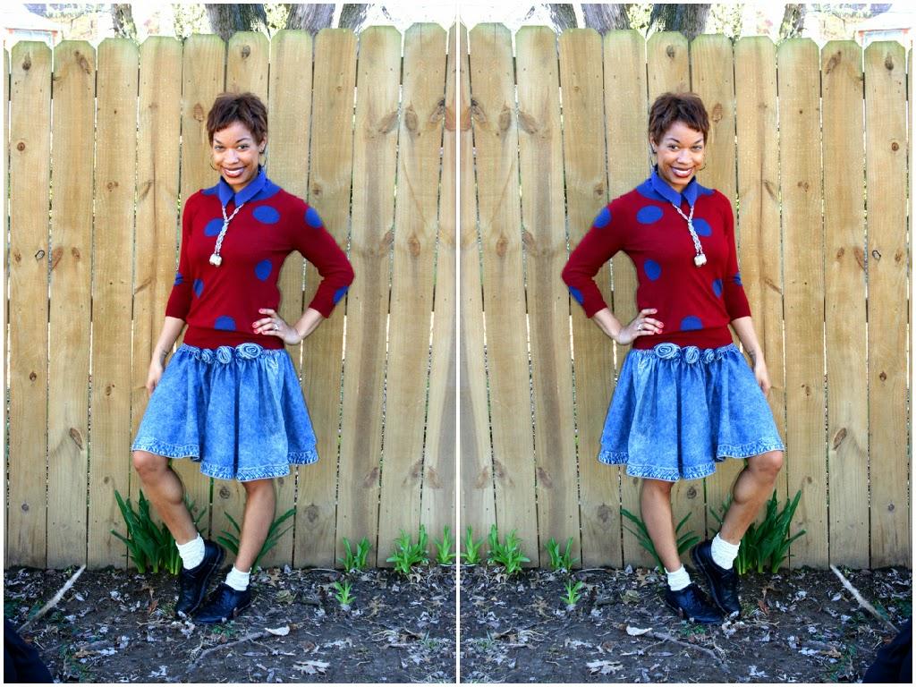 denim skirt, polka dot sweater, oxfords