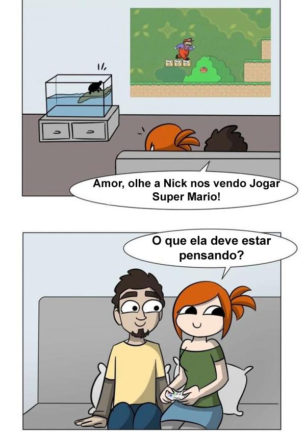 Tartaruga de verdade vendo Mario pisando em tartarugas no game