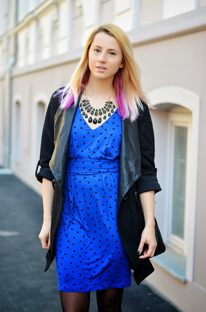 Mango polka dot blue dress H&M necklace