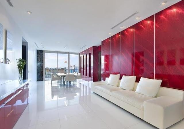 Moderno departamento en miami interiores por paulina for Casa minimalista rojo