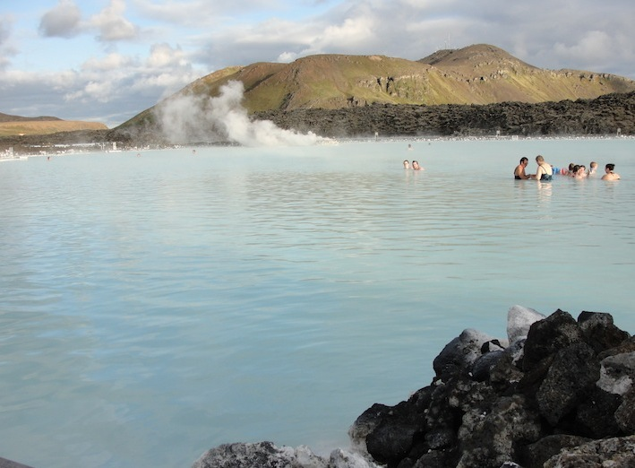 swimming and relaxing in the therapeutic pool of the Blue Lagoon in Iceland