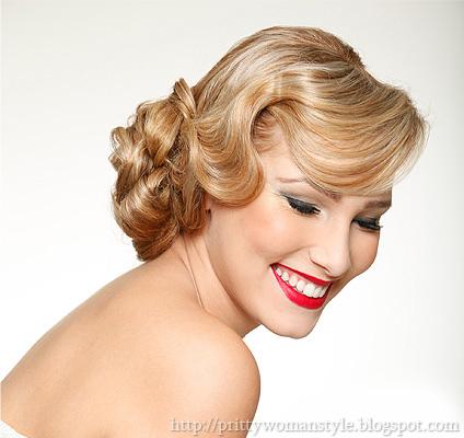 Булчинска прическа за средно дълга коса ретро къдрици