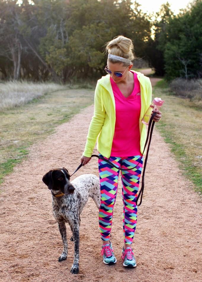Bright neon pattern print workout pants FILA