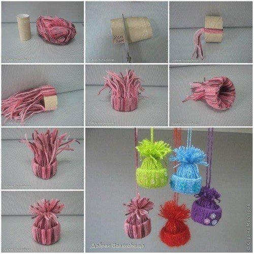 Gorritos de lana con tubo de papel higiénico