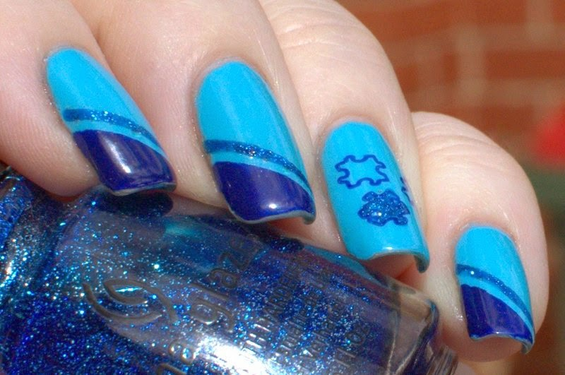 Austism Awareness- OPI Eurso Eurso, Barry M Turquoise and China Glaze Dorothy Who? with puzzle stamping