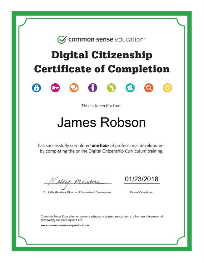 Digital Citizenship Certificate