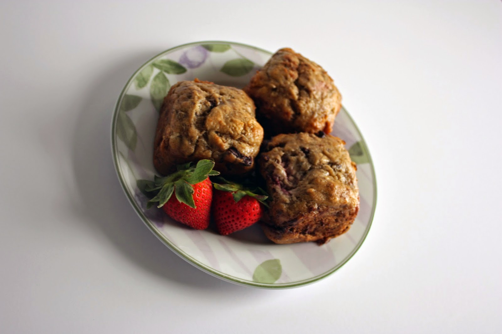 dark chocolate strawberry banana bread muffins
