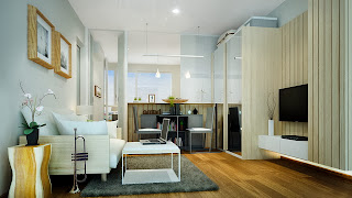 Affordable condo apartments in Bangtao Phuket. Living room and kitchen on this picture.