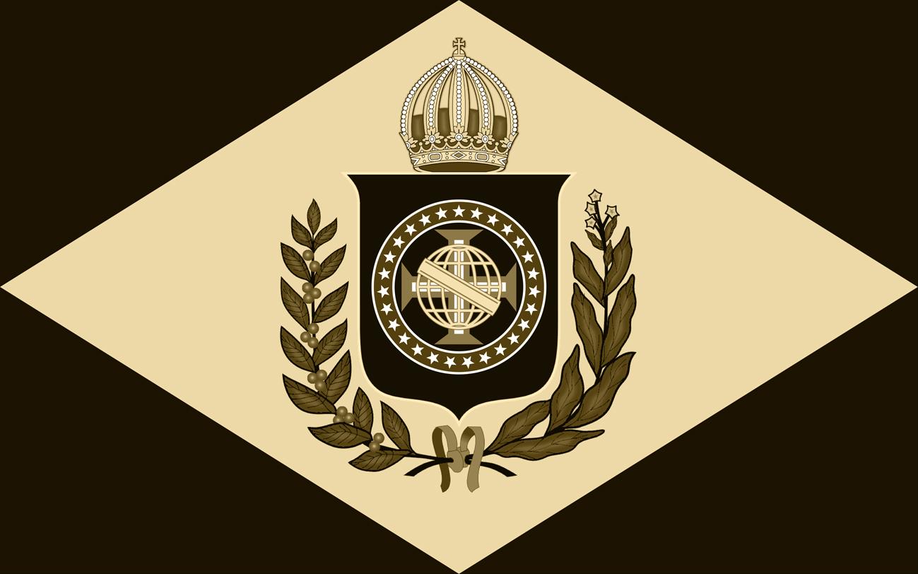 Bandeira do Brasil Imperial - Modelo ( 10 X 16) Monocromático em Sépia