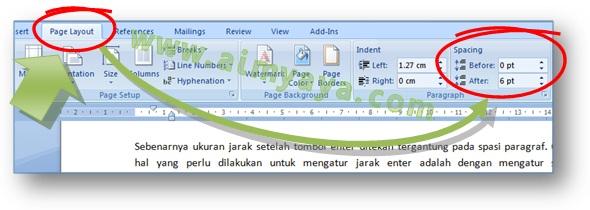Gambar: Cara mudah merubah spasi antar paragraph (before and after paragraph) di Microsoft Word 2007