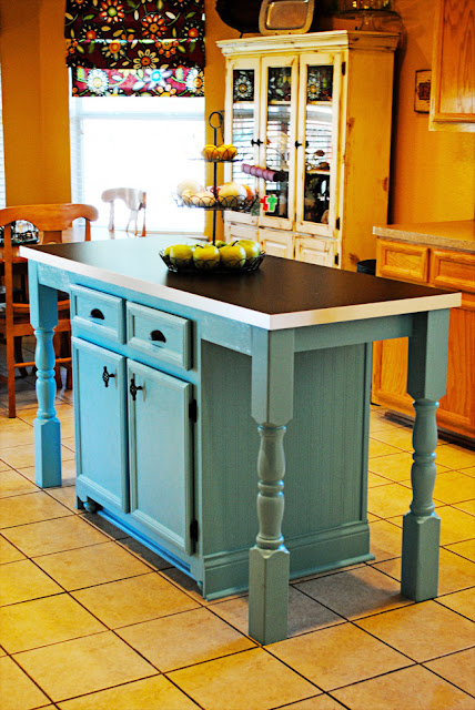 Imitation is flattery a kitchen island transformation for Cheap diy kitchen island ideas
