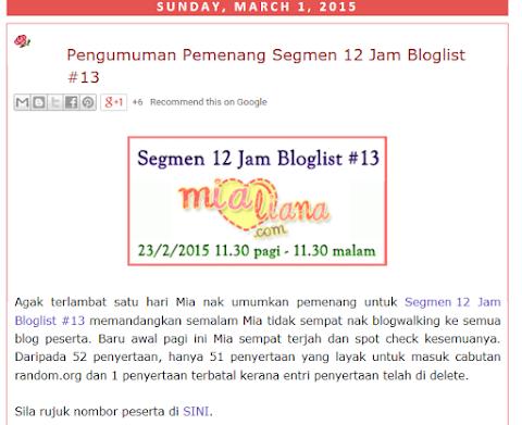 Tersenarai dalam bloglist Mialiana.com bagi bulan Mac-April 2015